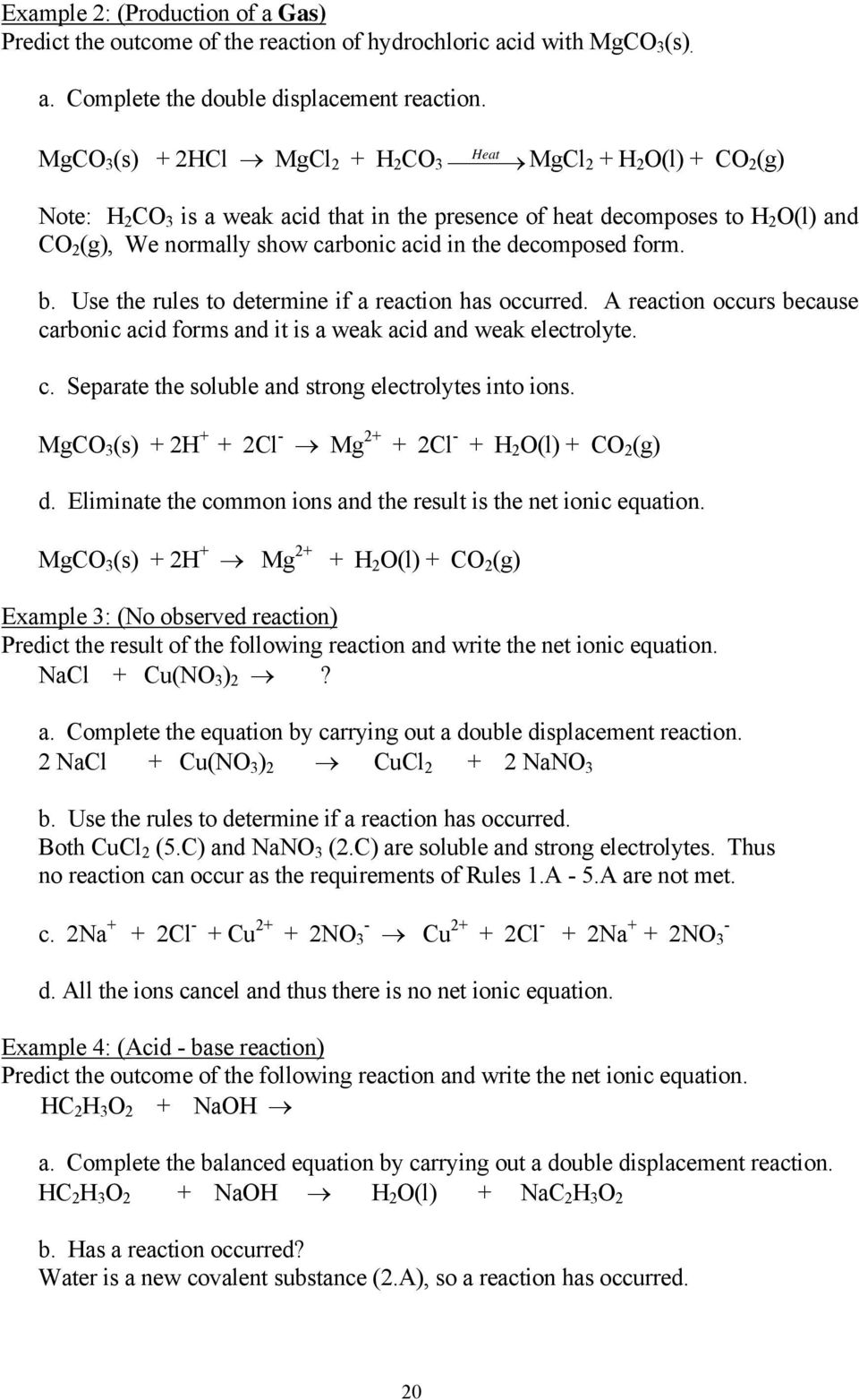 Experiment 1 Chemical Reactions and Net Ionic Equations - PDF
