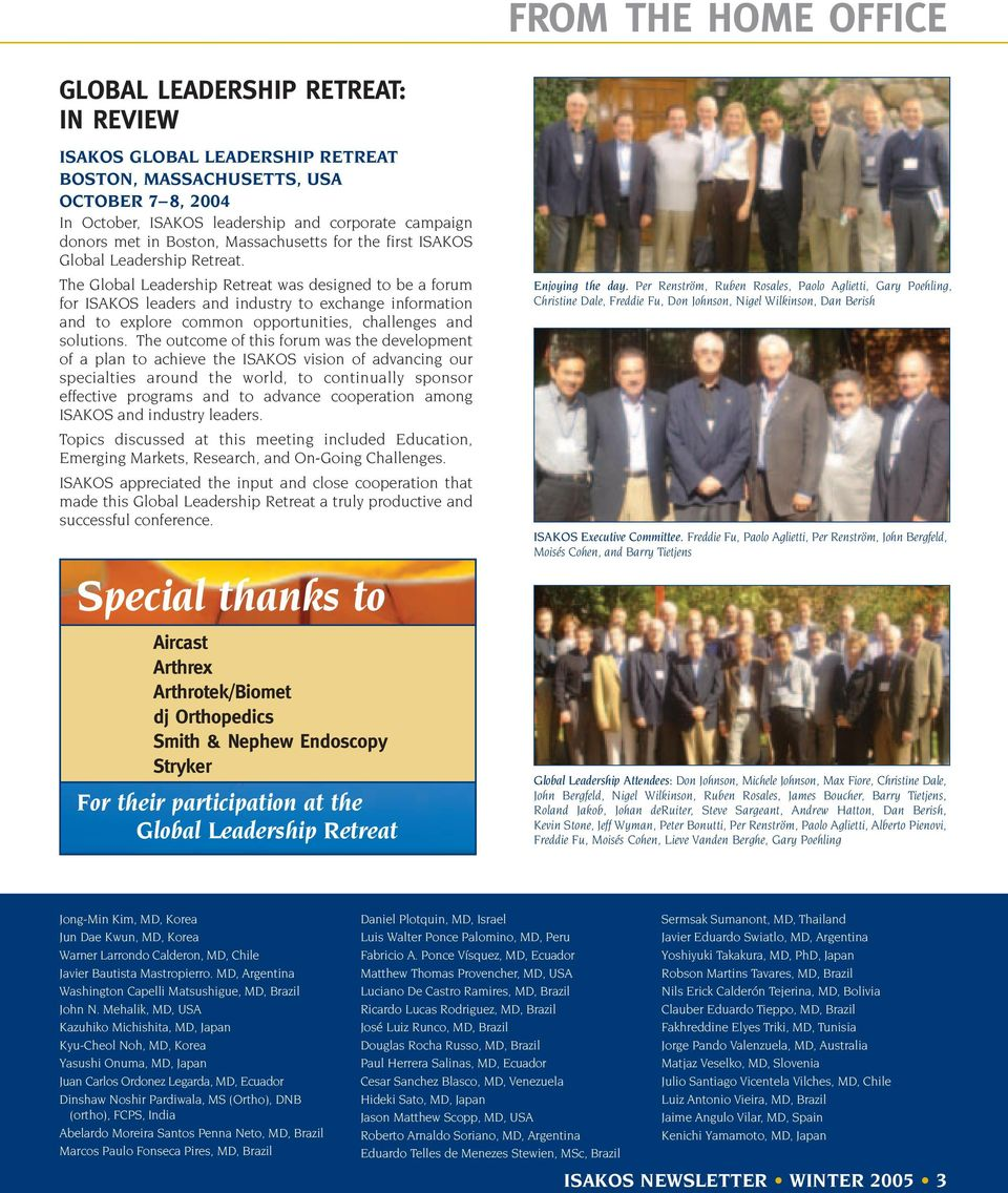 ISAKOS  newsletter  ISAKOS Celebrates its Tenth Anniversary at the