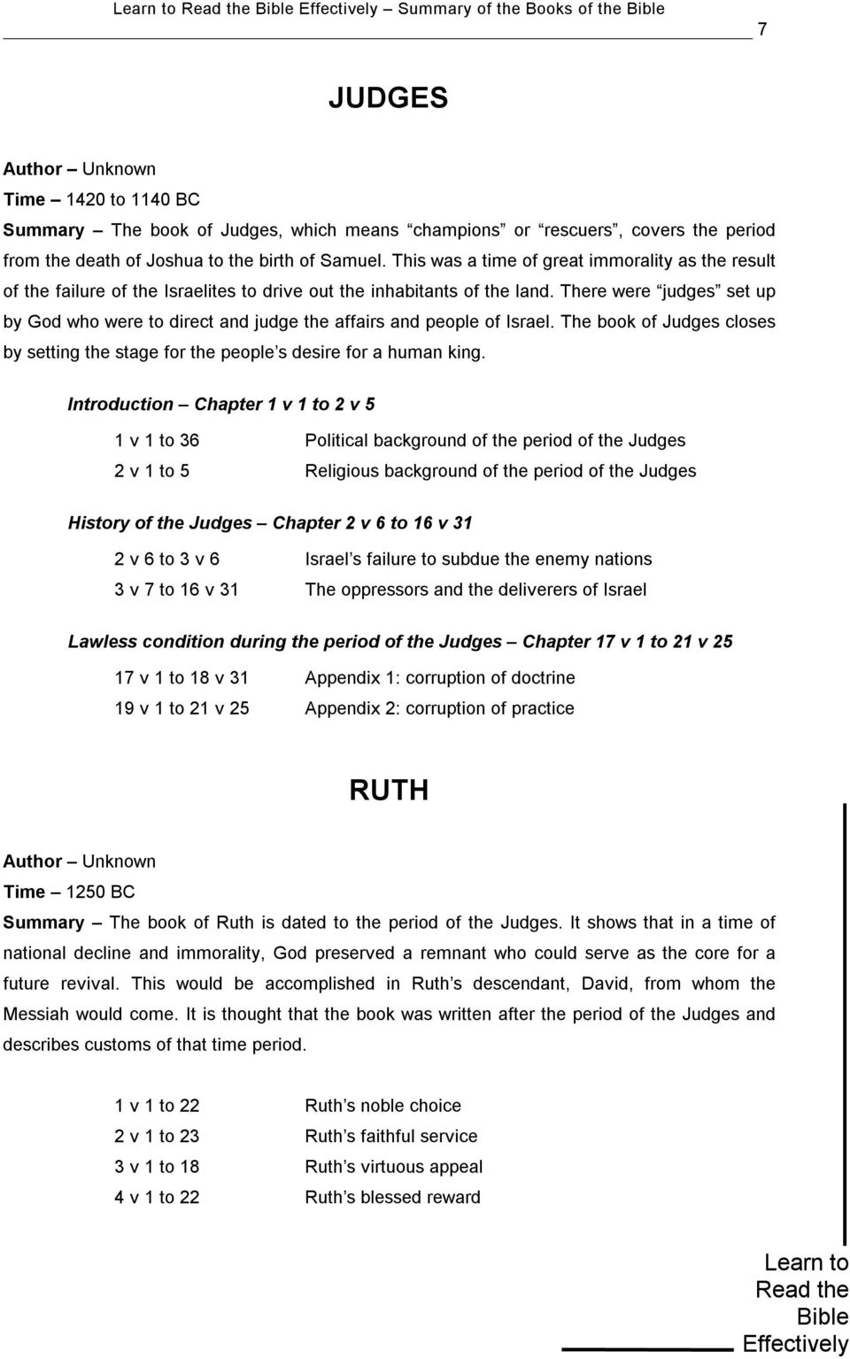 Learn to Read the Bible Effectively Summary of the Books of