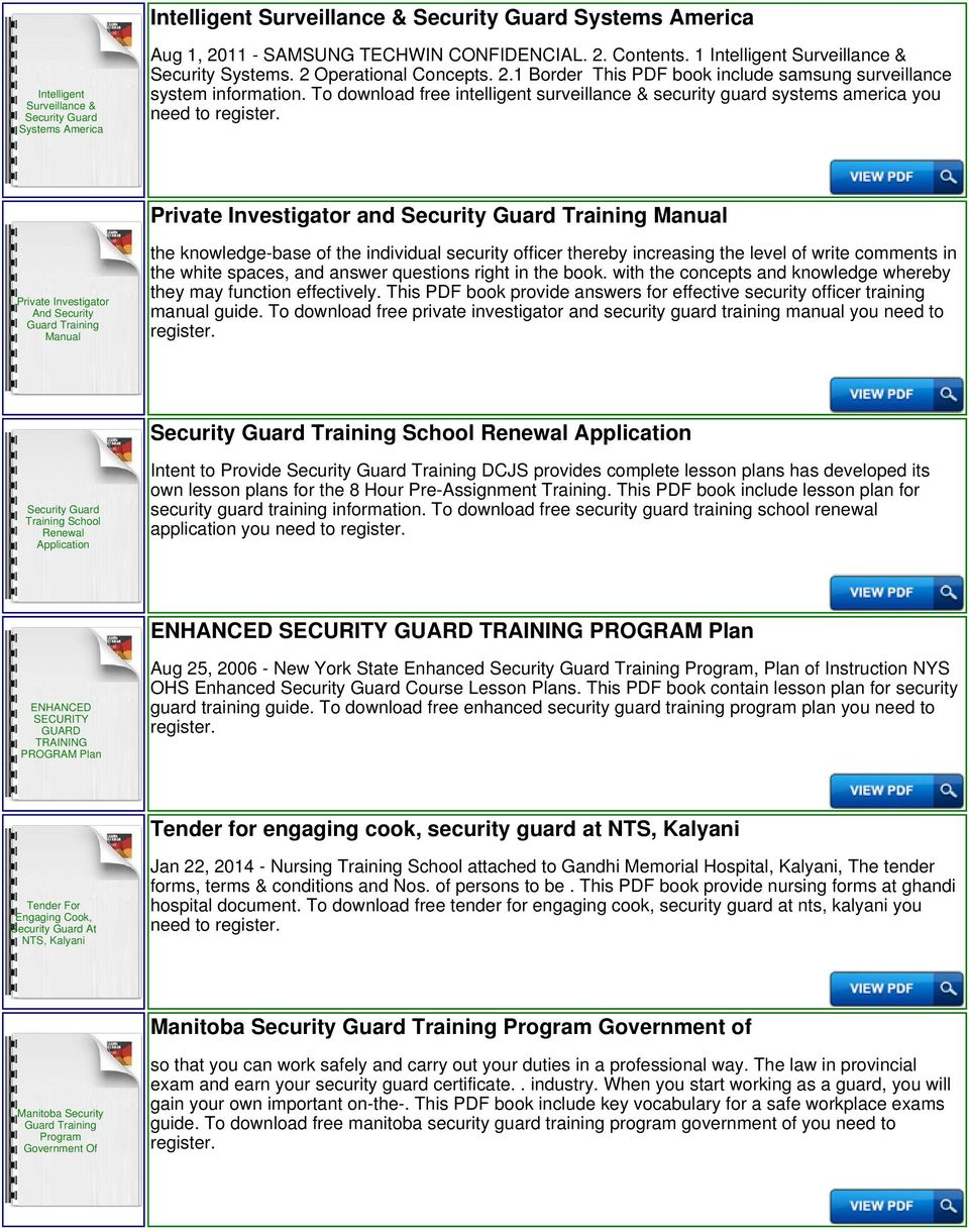 To download free intelligent surveillance & security guard systems america  you need to Private Investigator and. 4 NYS Manual Radiant Training ...