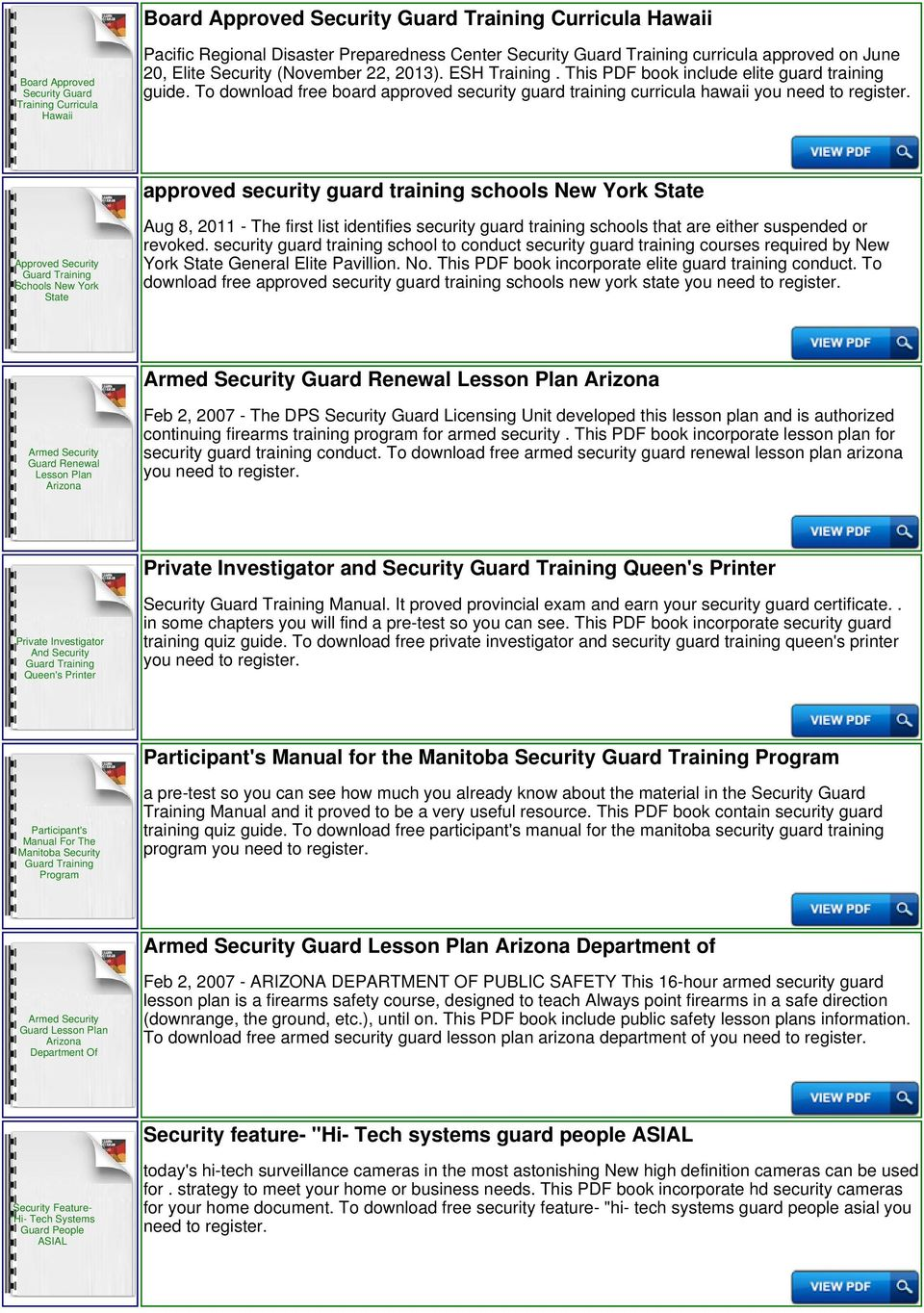 To download free board approved security guard training curricula hawaii  you need to approved security guard
