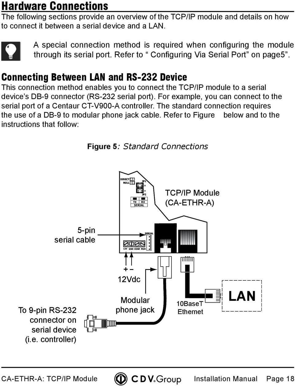 Connecting Between LAN and RS-232 Device This connection method enables you to connect the TCP/IP module to a serial device s DB-9 connector (RS-232 serial port).