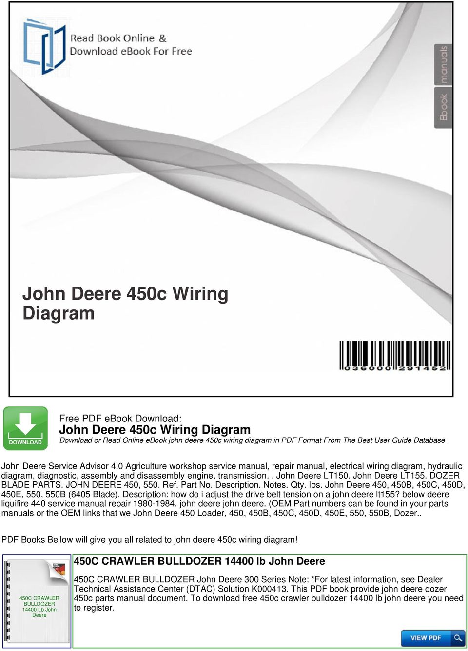 John Deere 450c Wiring Diagram Pdf Free Image About On Vw Golf Front Suspension Dozer Blade Parts 450 550 Ref Part No Description