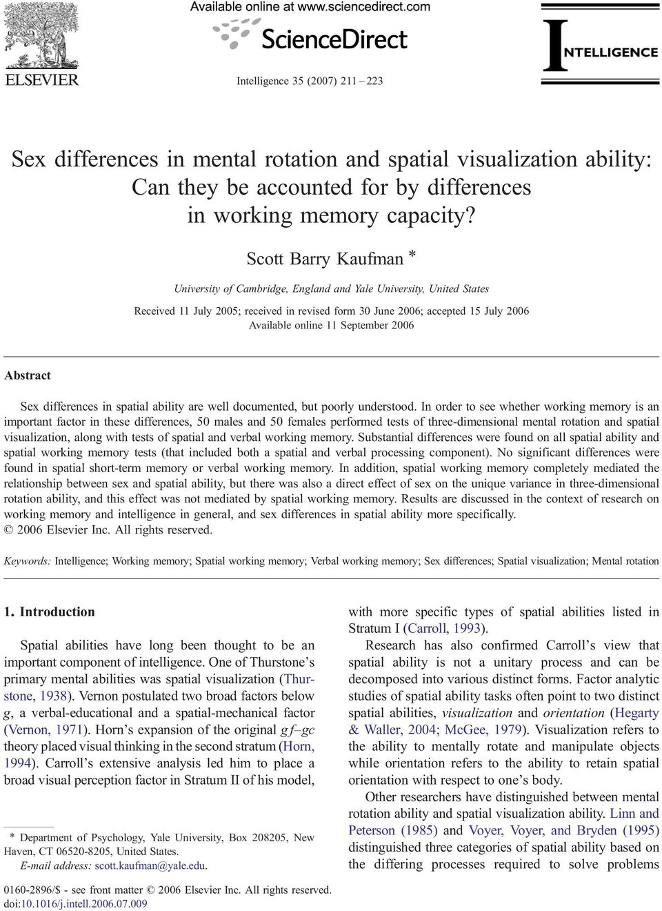 Spatial ability sex differences