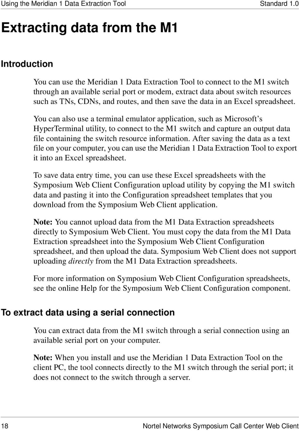Nortel Networks Symposium Call Center Web Client Data