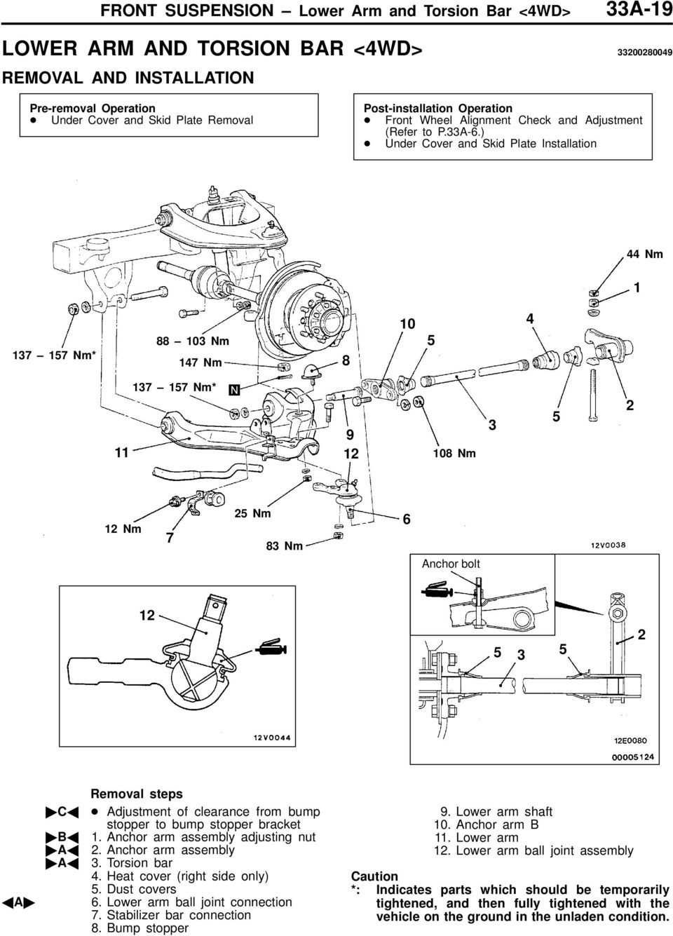 Front Suspension Click On The Applicable Bookmark To Selected Chevy Torsion Bar Diagram Under Cover And Skid Plate Installation 44 Nm 1 137 157 88 103