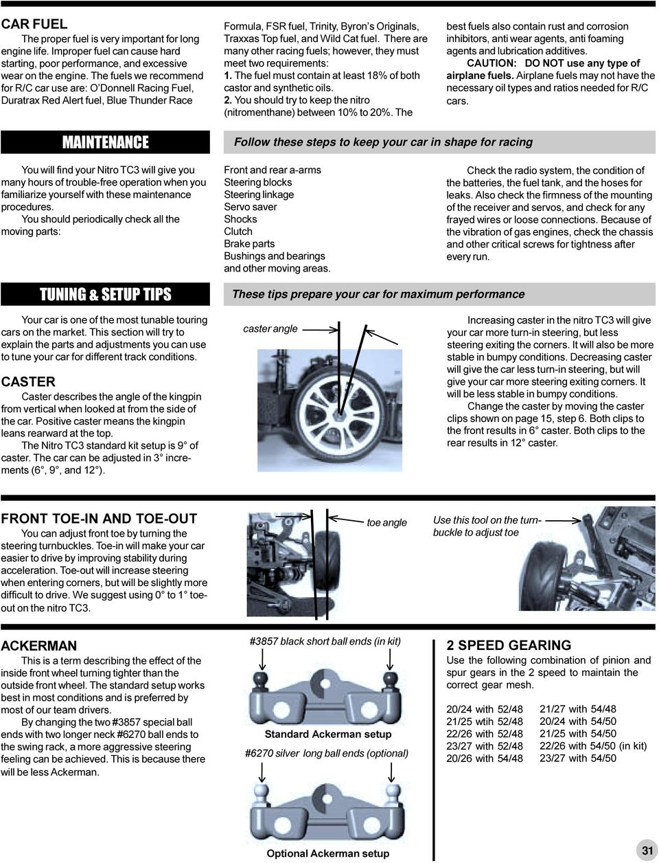 Make these adjustments before racing - PDF