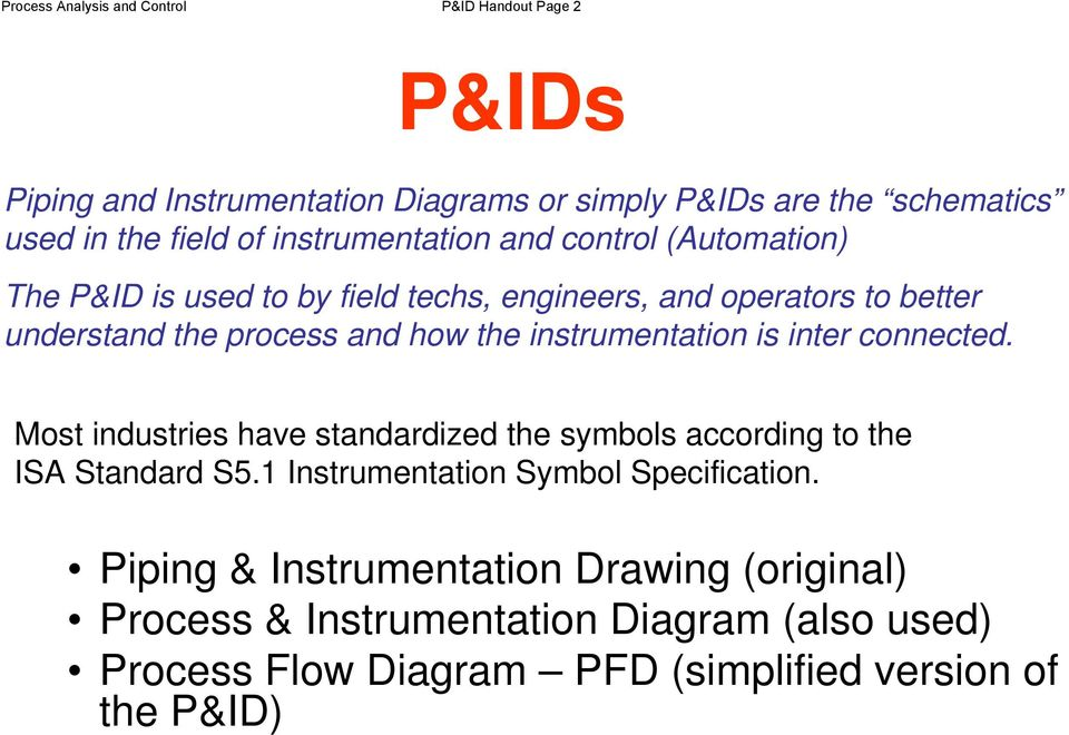 Process Analysis and Control P&ID Handout Page 1 P&ID