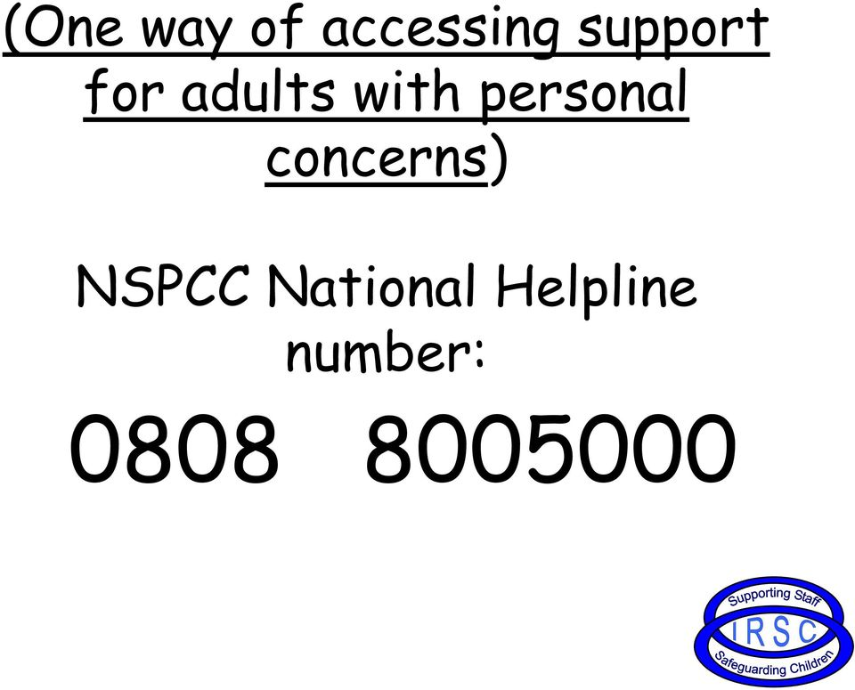 personal concerns) NSPCC