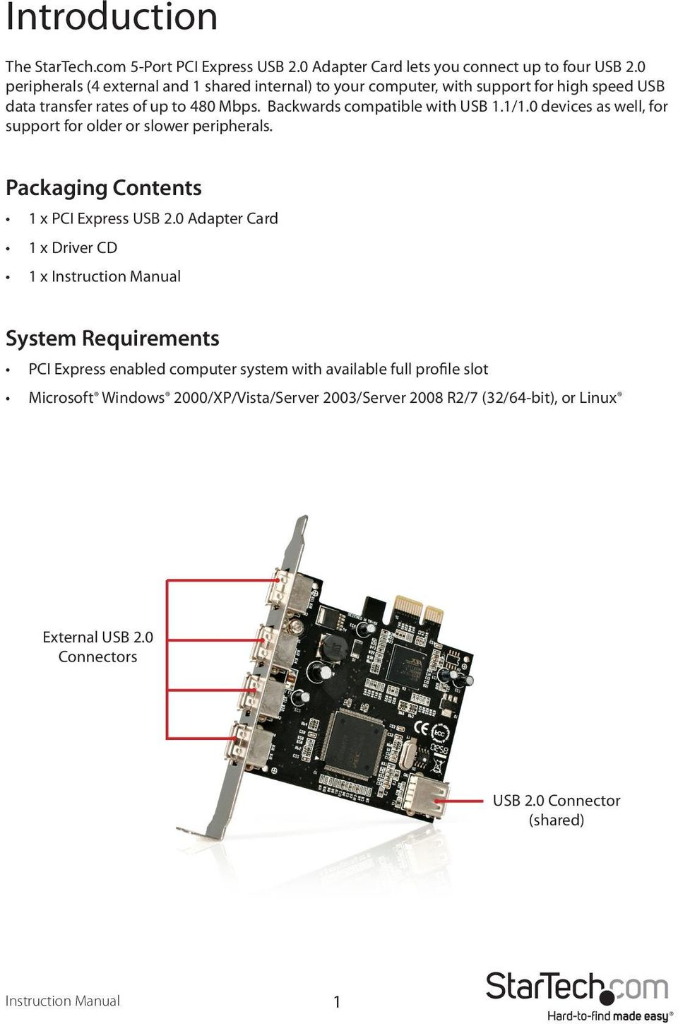 1/1.0 devices as well, for support for older or slower peripherals. Packaging Contents 1 x PCI Express USB 2.