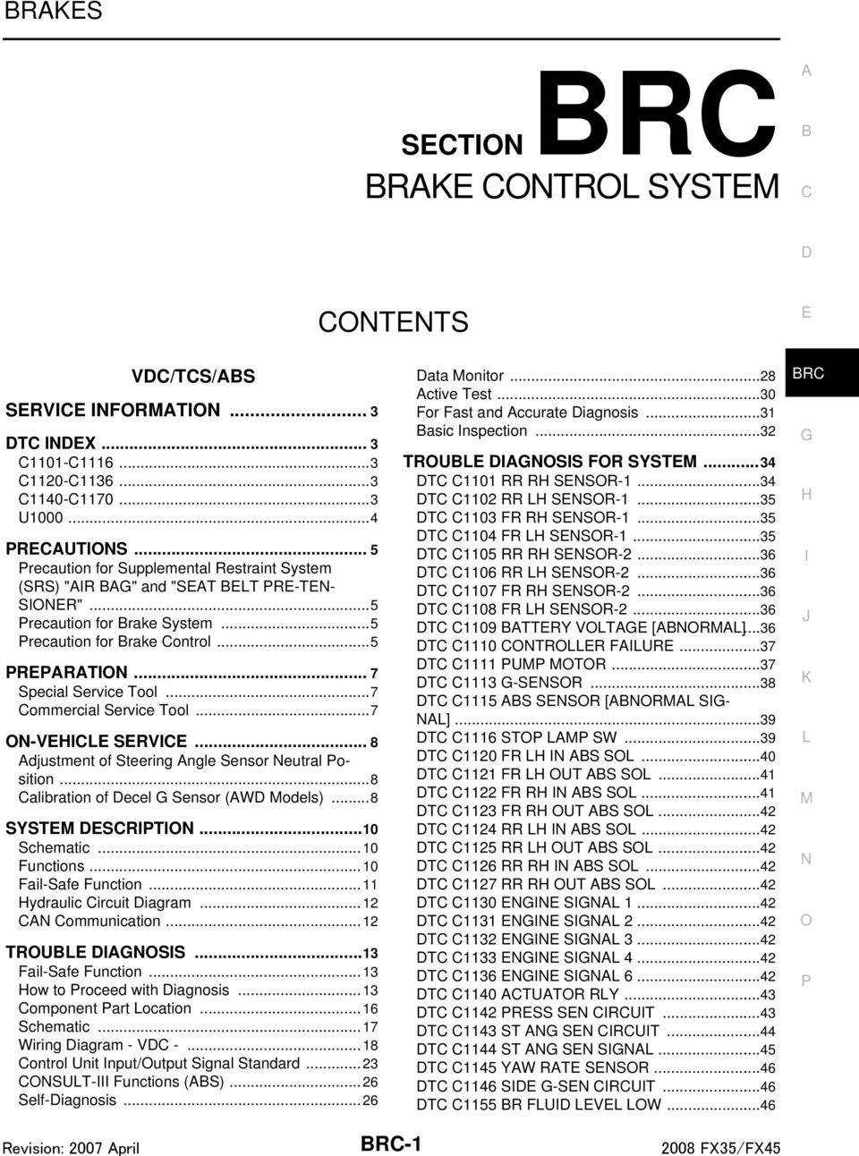 BRAKE CONTROL SYSTEM SECTION BRC CONTENTS BRAKES BRC-1 VDC