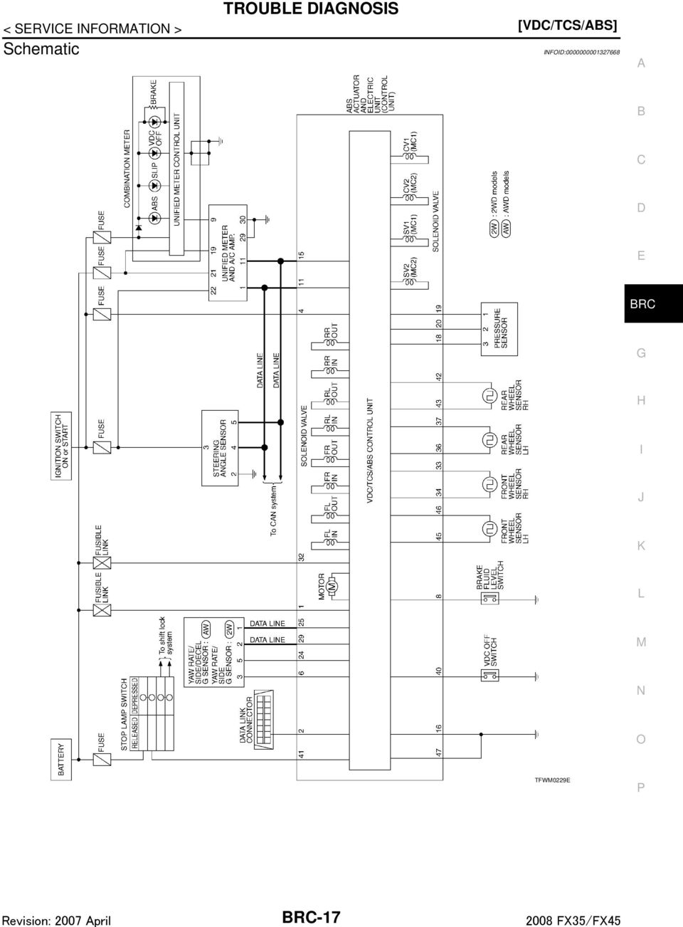brake control system section brc contents brakes brc 1 vdc tcs abs Alternator Wiring Diagram infoid 0000000001327668 a