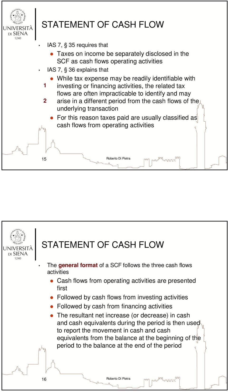 usually classified as cash flows from operating activities 15 The general format of a SCF follows the three cash flows activities Cash flows from operating activities are presented first Followed by