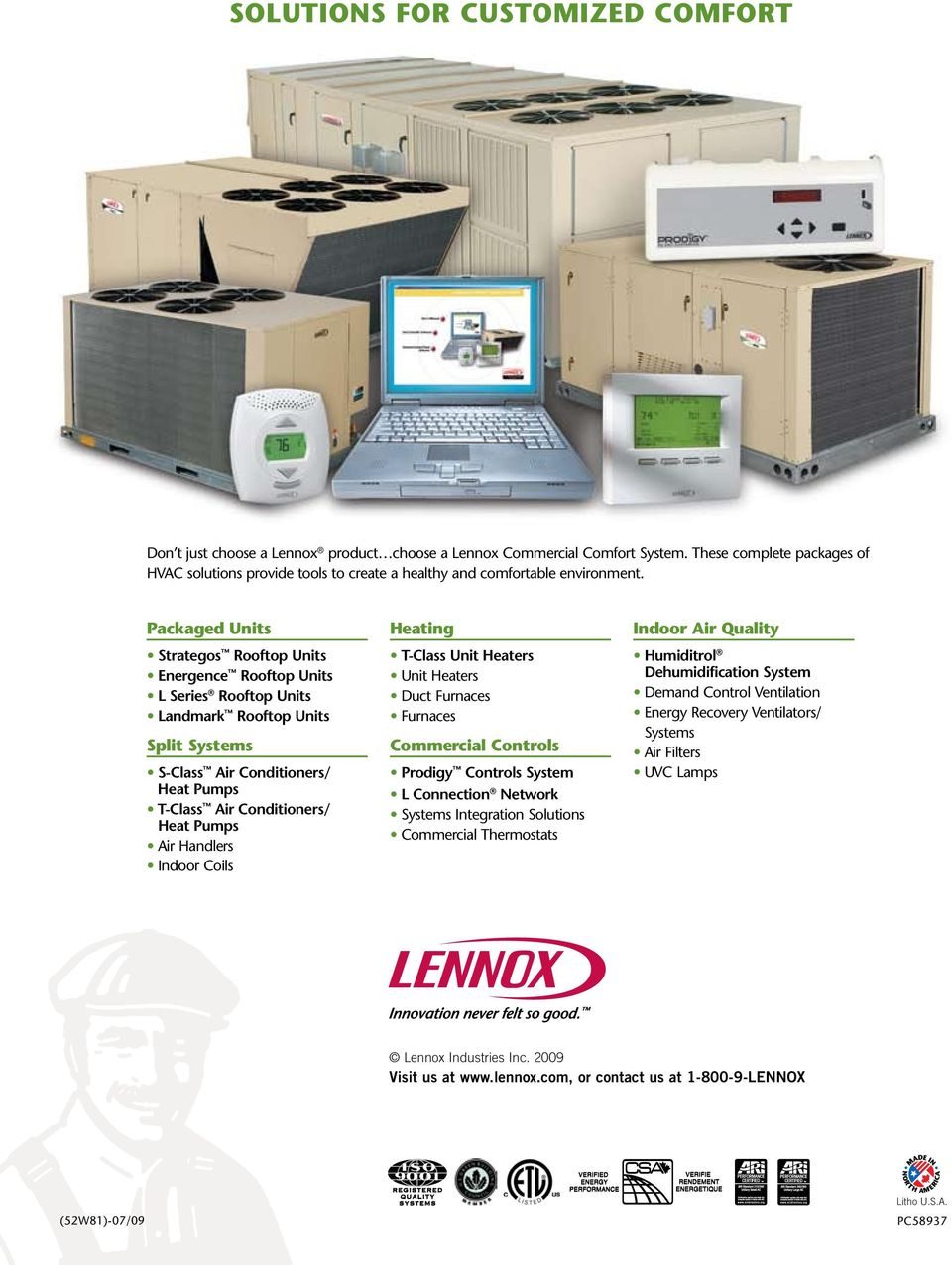 Commercial Packaged Rooftop Units 3- to 50-Ton LC/LG Models