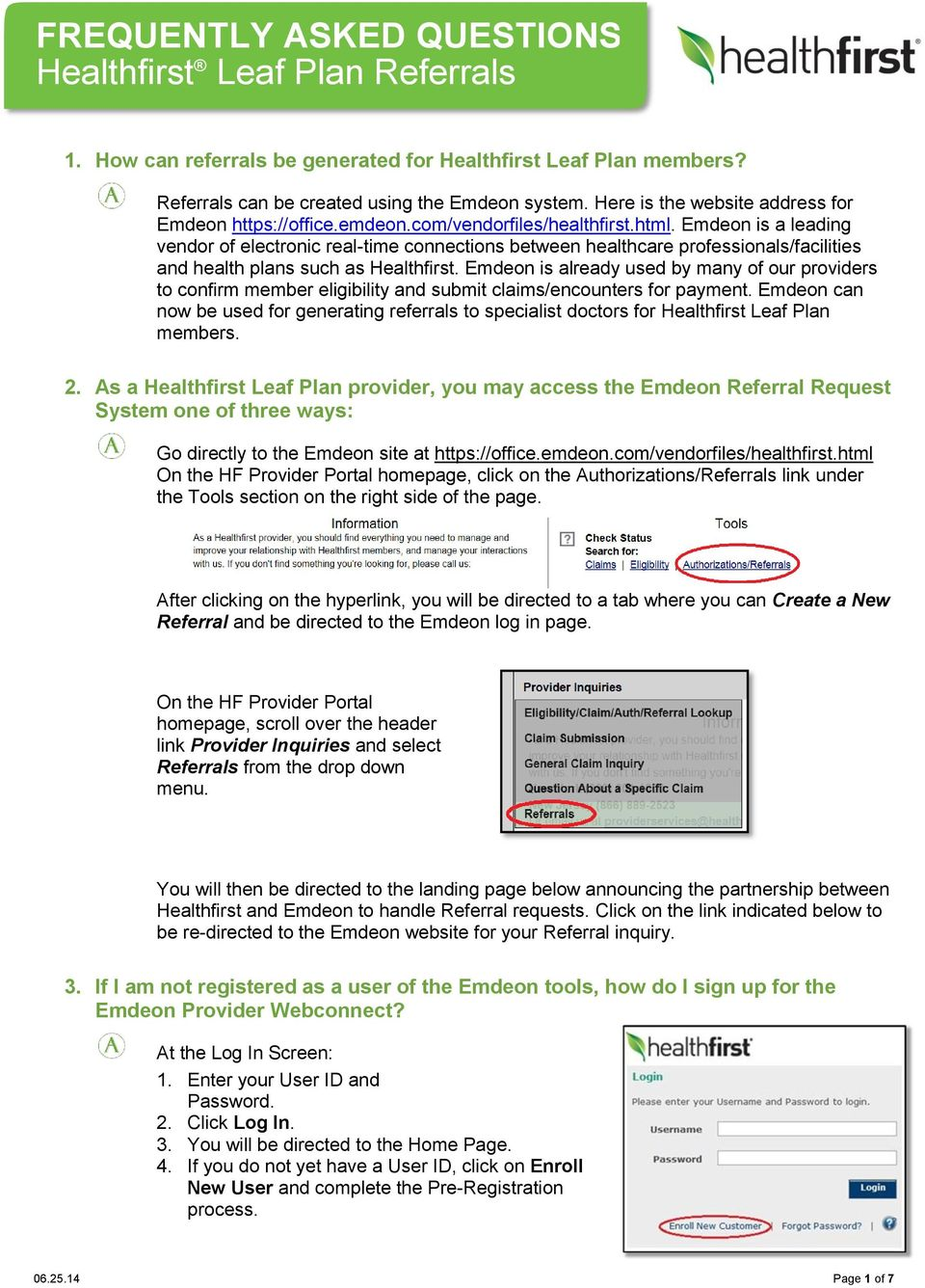 FREQUENTLY ASKED QUESTIONS Healthfirst Leaf Plan Referrals - PDF