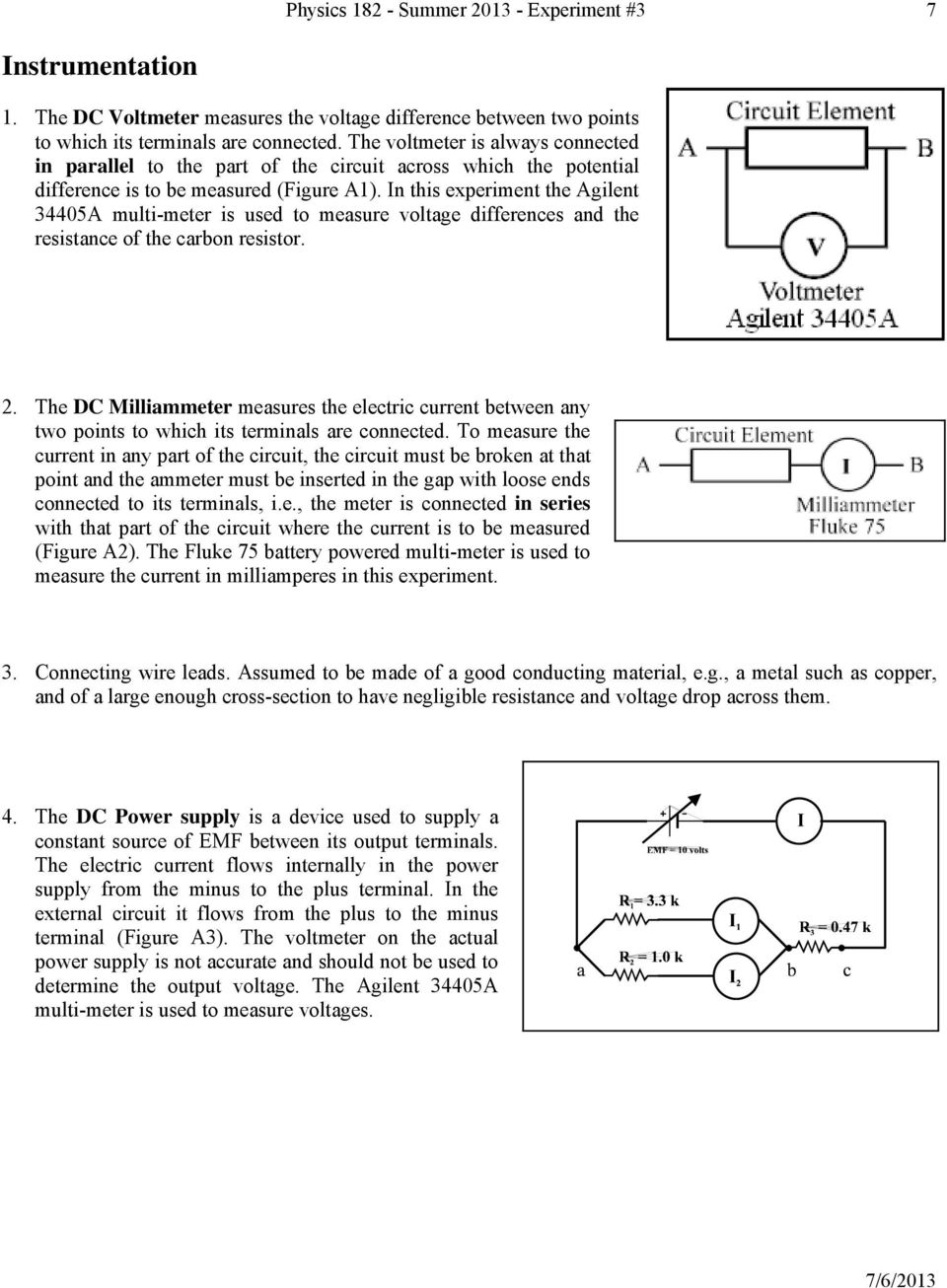 Experiment 3 Ohm S Law Pdf Electric Potential In A Circuit N This The Agilent 34405a Multi Meter Is Used To Measure Age Differences And