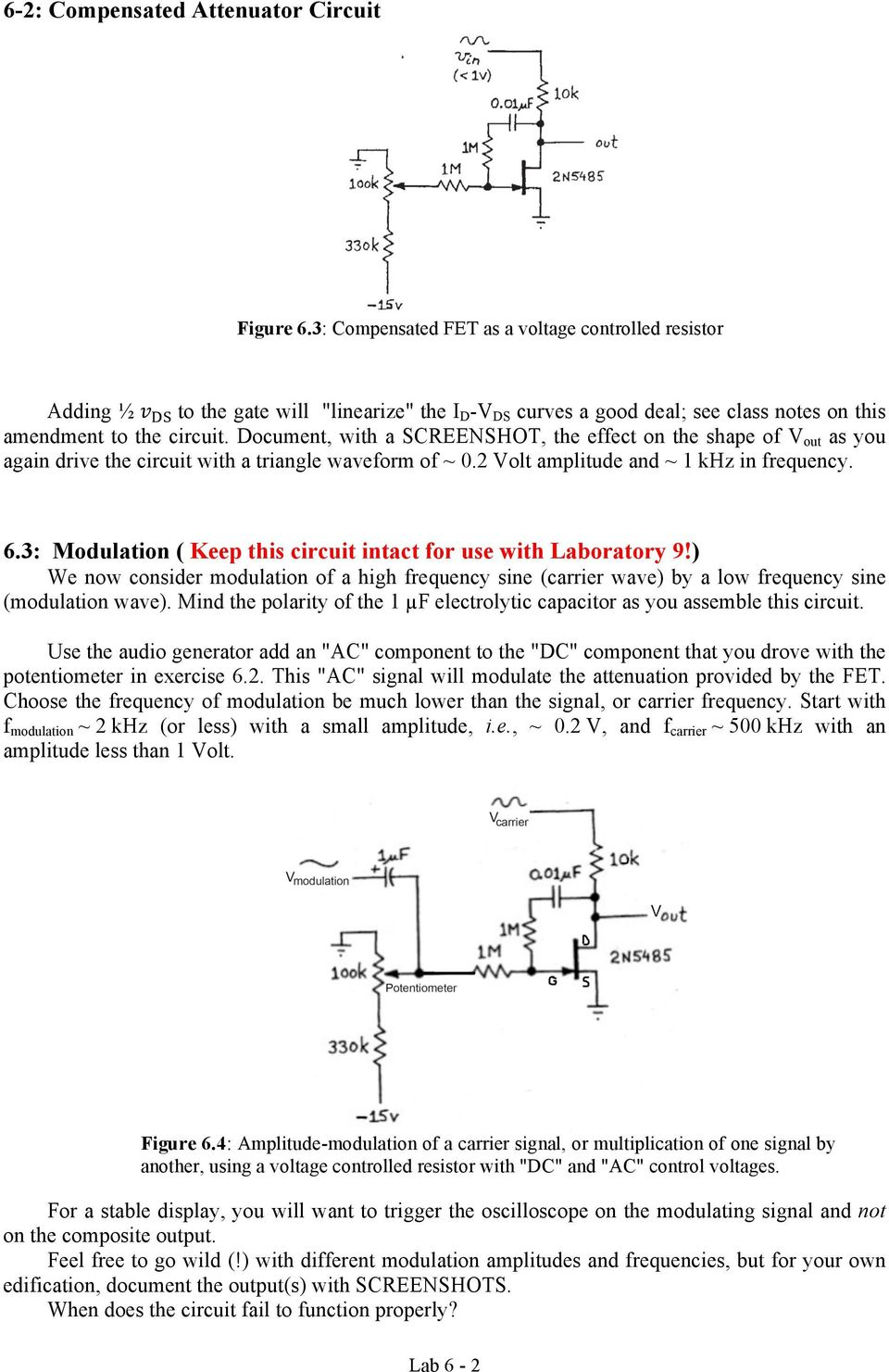 Physics 120 Lab 6 Field Effect Transistors Ohmic Region Pdf Voltagecontrolled Amplifier Using Mosfet Gain Control Circuit Document With A Screenshot The On Shape Of V Out As You