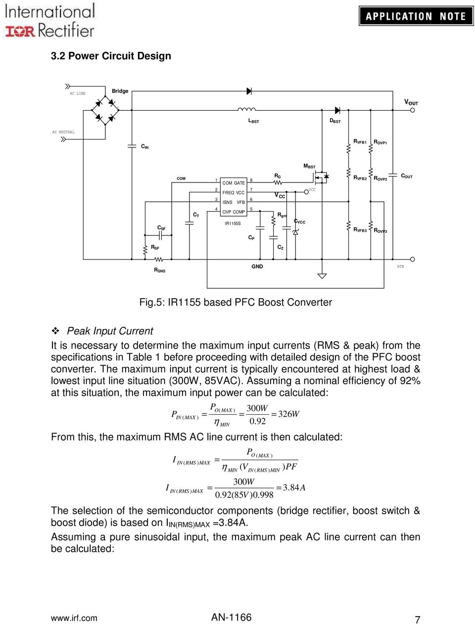 Application Note An Pdf Circuit Diagram Of A Typical Power Factor Correction Boost Converter 5 I55 Based Pfc Peak Input Current It Is Necessary To Determine The