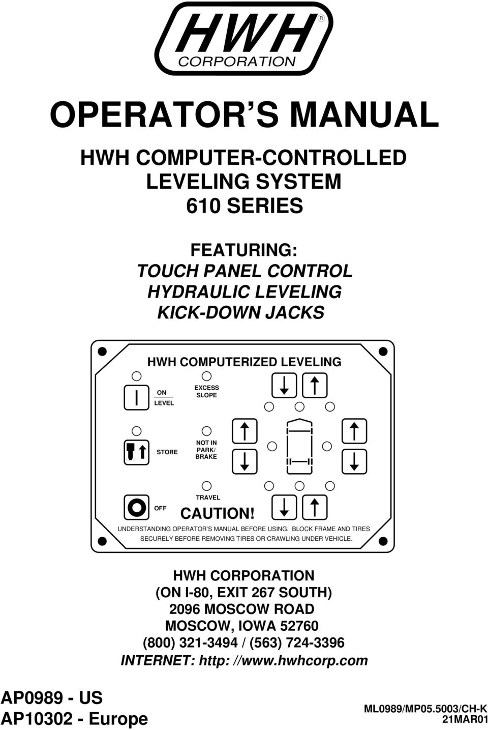 OPERATOR S MANUAL HWH COMPUTER-CONTROLLED LEVELING SYSTEM