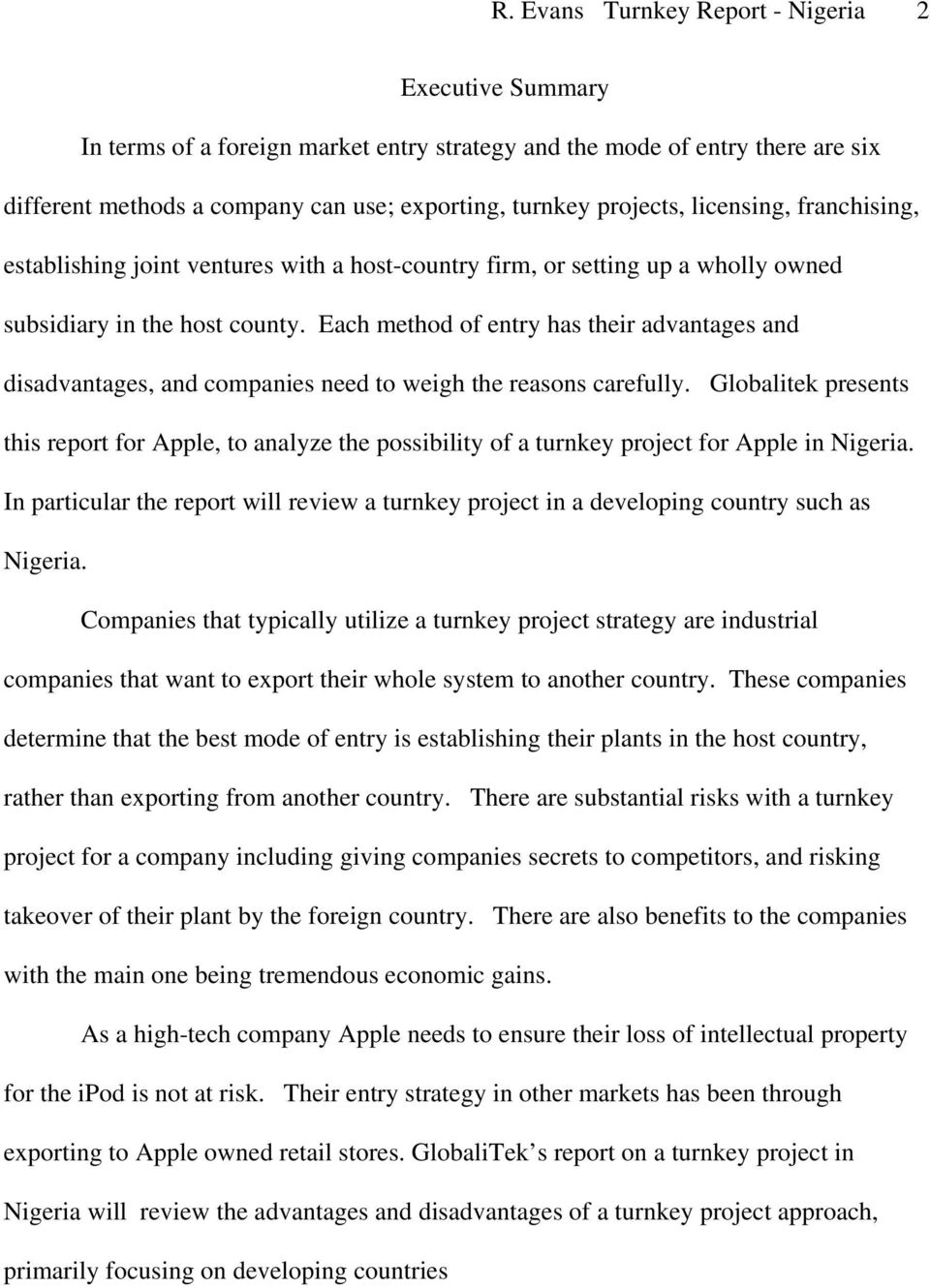 Entry Strategies  Report on a turnkey project for Apple s