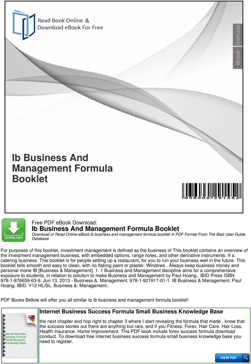 Ib Business And Management Formula Booklet - PDF