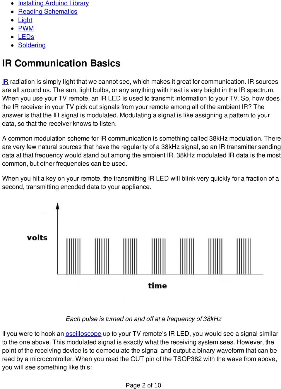 Ir Communication A Learnsparkfuncom Tutorial Pdf Dimmers For Led Circuits Diagram Pwm 555 Dimmer So How Does The Receiver In Your Tv Pick Out Signals From Remote