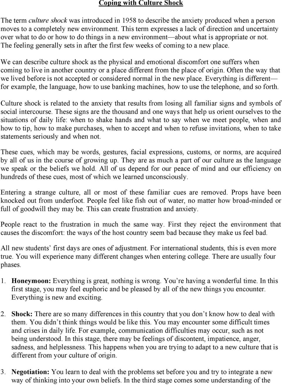 Coping with Culture Shock - PDF