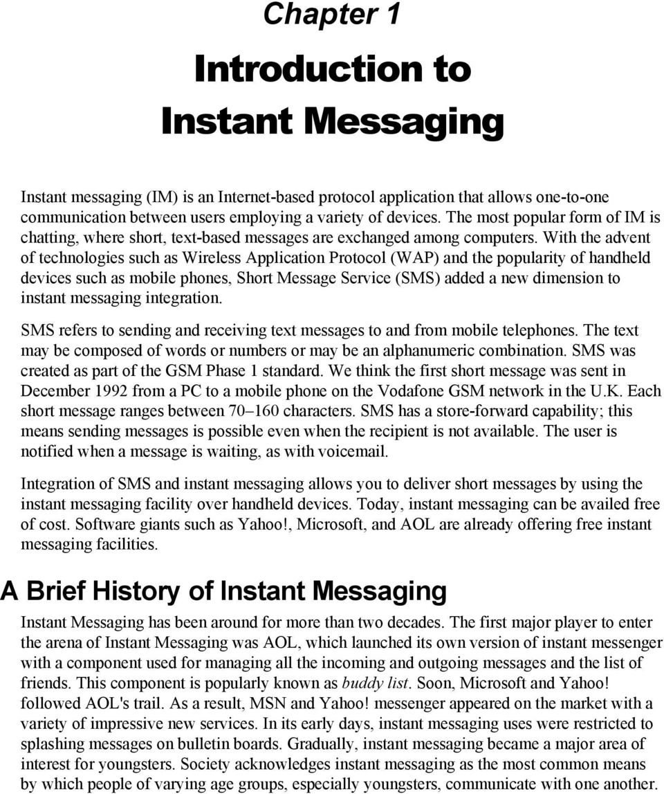Introduction to Instant Messaging - PDF