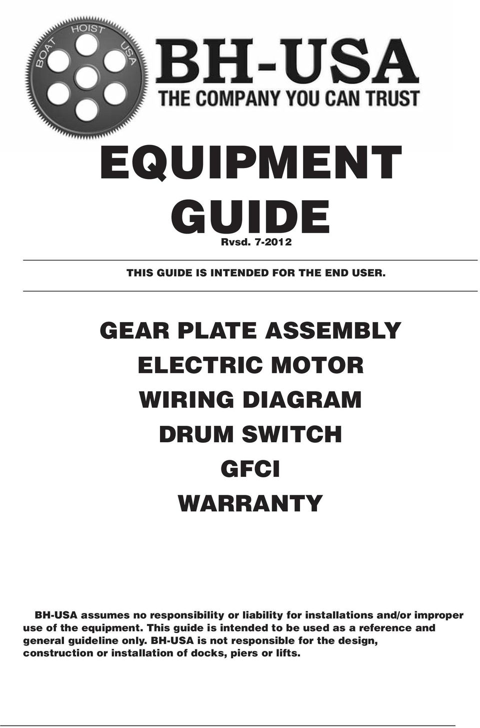 Equipment Guide Rvsd This Is Intended For The End User Gear Gfci Wiring Diagram Dummy S Responsibility Or Liability Installations And Improper Use Of