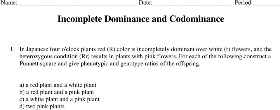 Incomplete Dominance And Codominance PDF