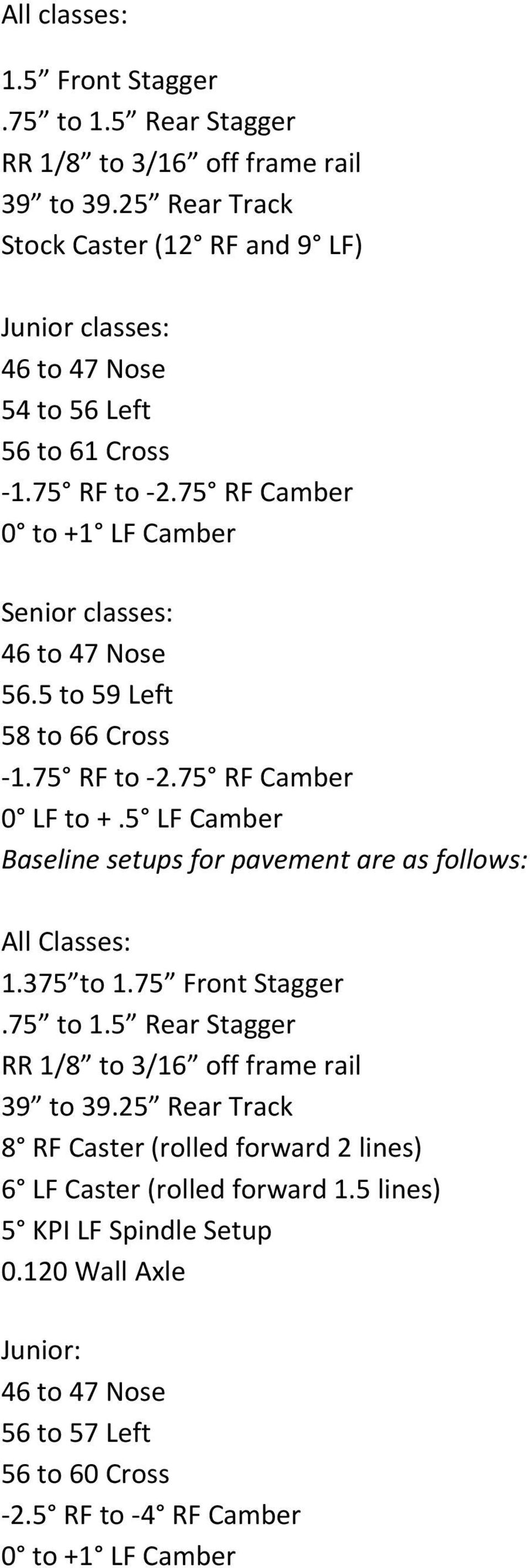 75 RF Camber 0 to +1 LF Camber Senior classes: 46 to 47 Nose 56.5 to 59 Left 58 to 66 Cross 1.75 RF to 2.75 RF Camber 0 LF to +.