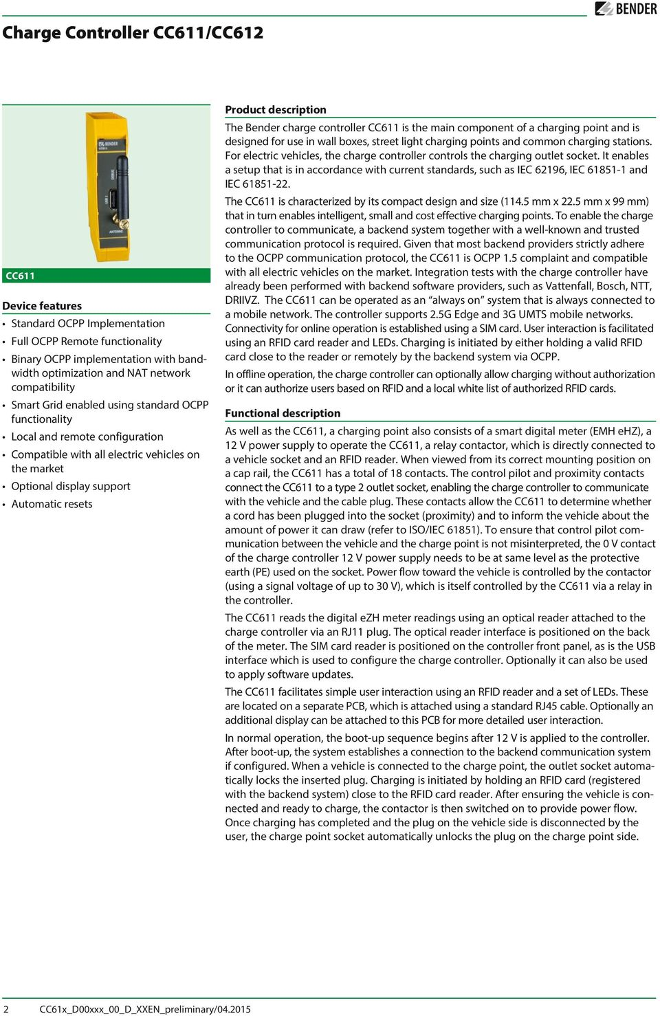 Charge Controller Cc611 Cc612 Preliminary Datasheet Pdf Electricvehicles Ssr Solid State Relay Device Features Standard Ocpp Implementation Full Remote Functionality Inary With Bandwidth Optimization