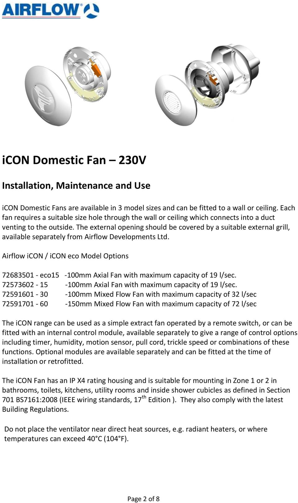 Domestic Ac Fans 230v Installation And Operating Guide Eco 230v Ac Base Models Icon Eco Icon Icon Icon Pdf Free Download