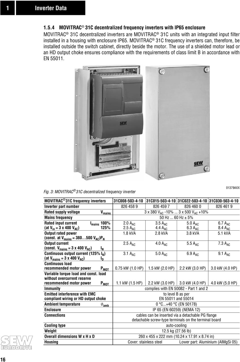 MOVITRAC 31C frequency inverters can, therefore, be installed outside the  switch cabinet