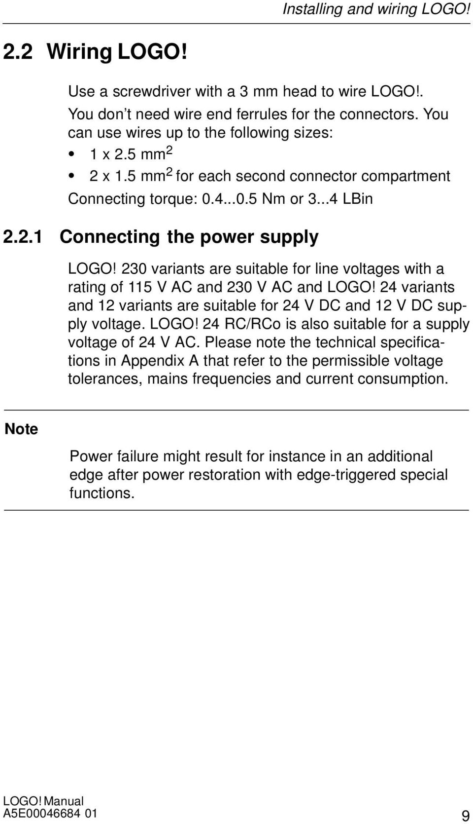 Welcome To Logo Documentation Guide The Manual Ogo Wiring Diagram 230 Variants Are Suitable For Line Voltages With A Rating Of 115 V Ac And 18 Installing