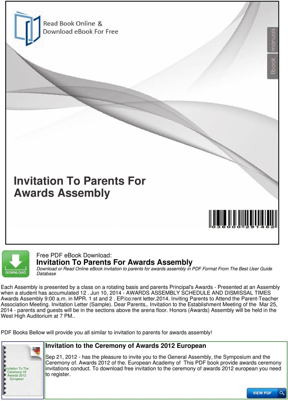 Invitation To Parents For Awards Assembly - PDF