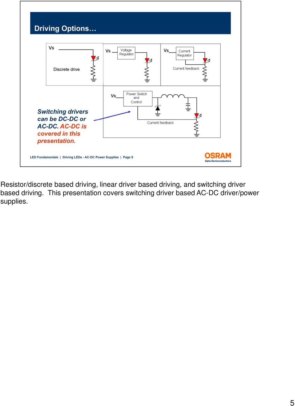 Welcome To This Presentation On Driving Leds Ac Dc Power Supplies Led Driver Powers Halogen Replacement Based