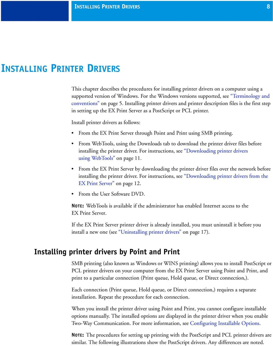 Installing printer drivers and printer description files is the first step in setting up the EX Print Server as a PostScript or PCL printer.