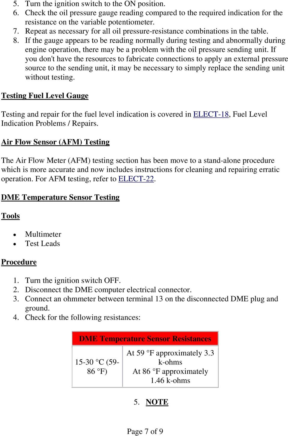 ELECT-19, Sensors and Gauges - Information, Troubleshooting