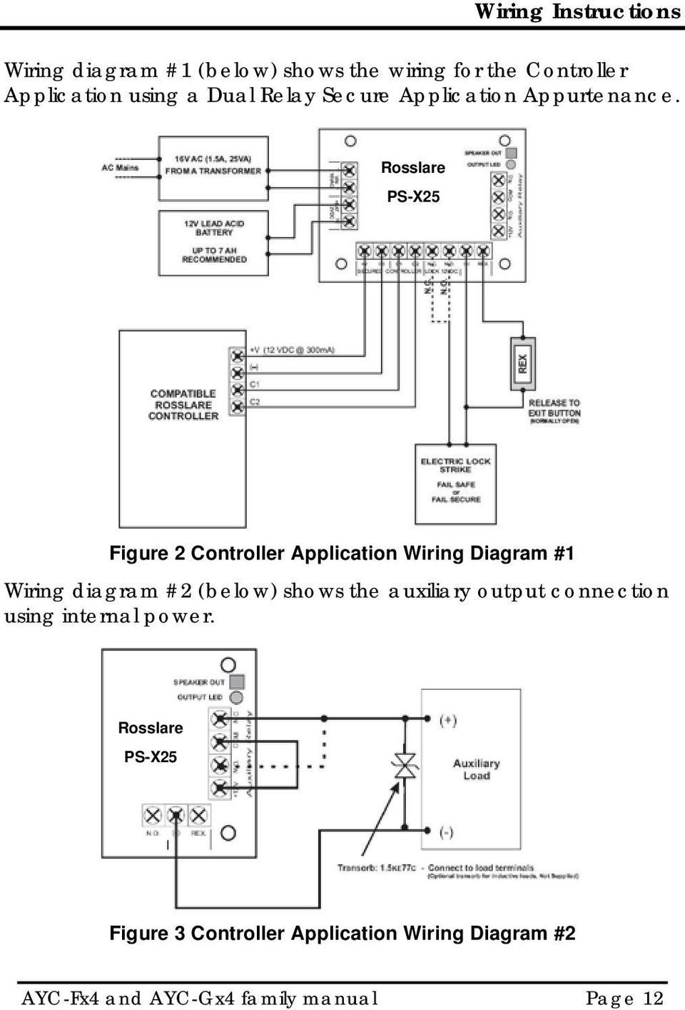 Rosslare PS-X25 Figure 2 Controller Application Wiring Diagram #1 Wiring diagram #2 (below) shows the