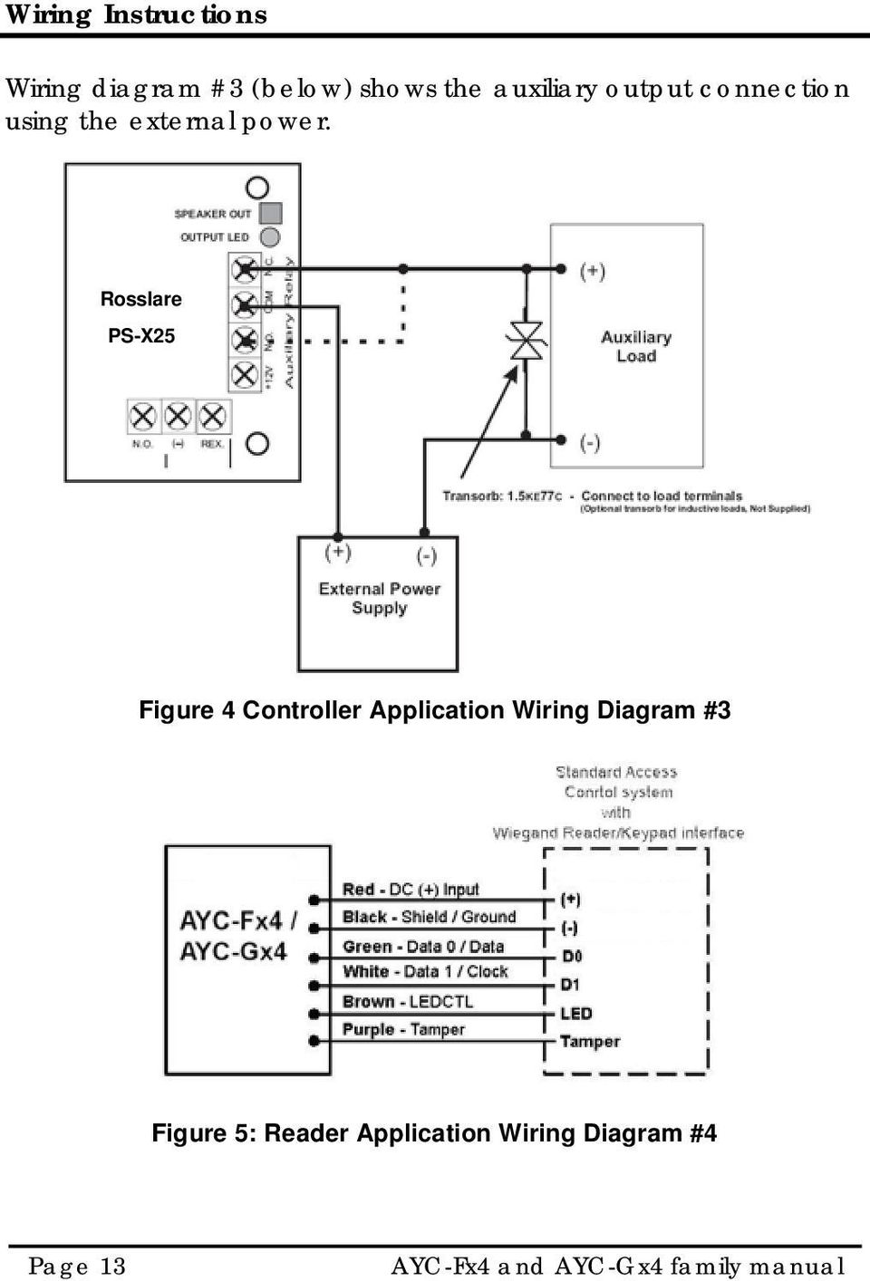 Rosslare PS-X25 Figure 4 Controller Application Wiring Diagram #3