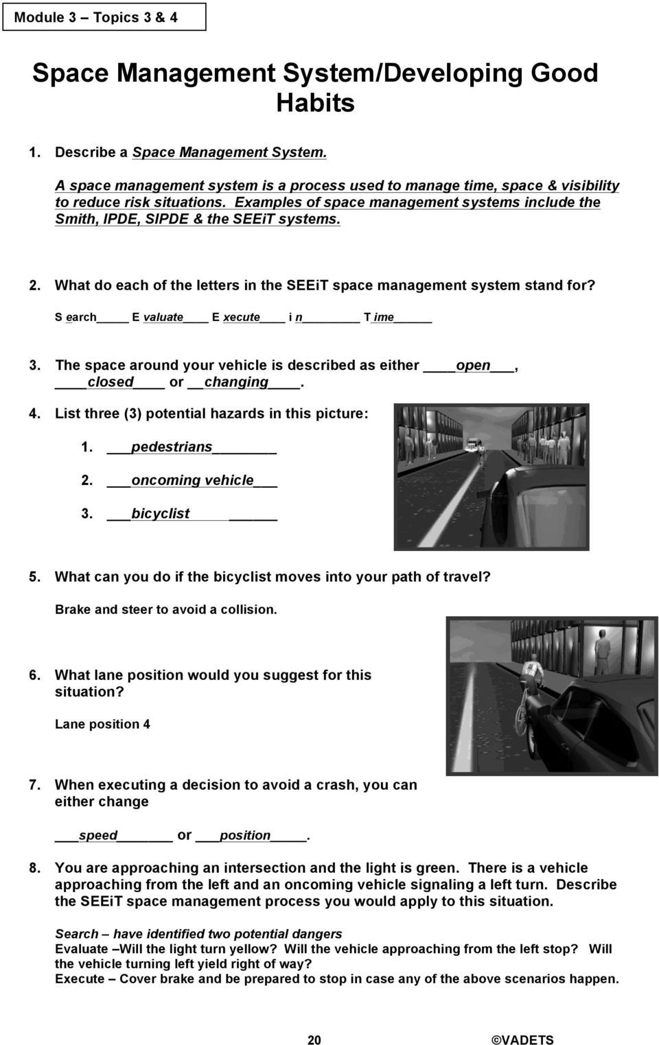 Module 5 drivers ed answer key | Colonial Driving School