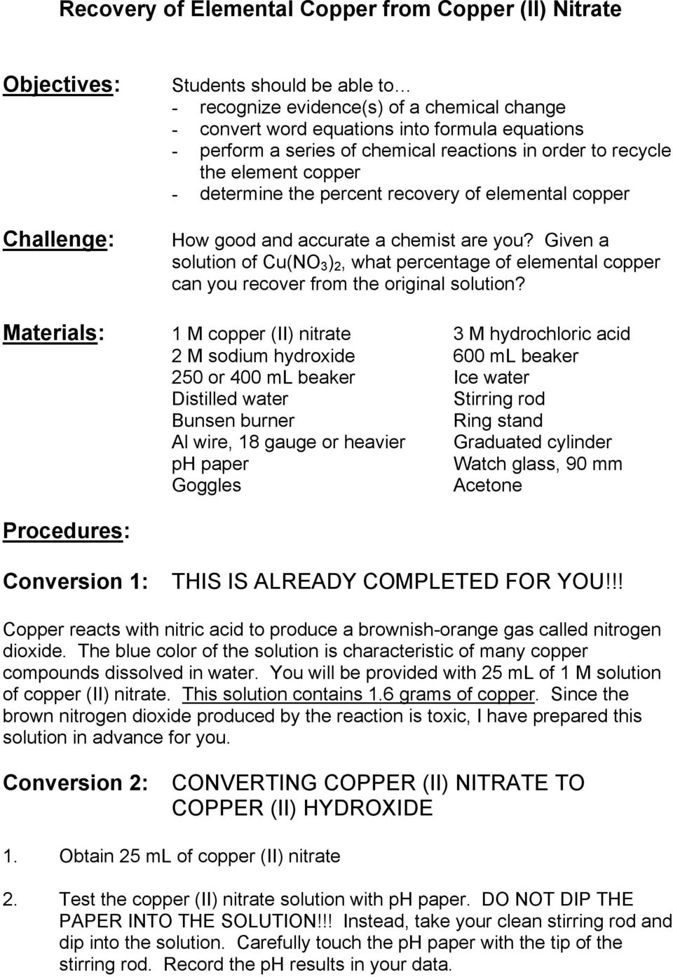 Recovery of Elemental Copper from Copper (II) Nitrate - PDF