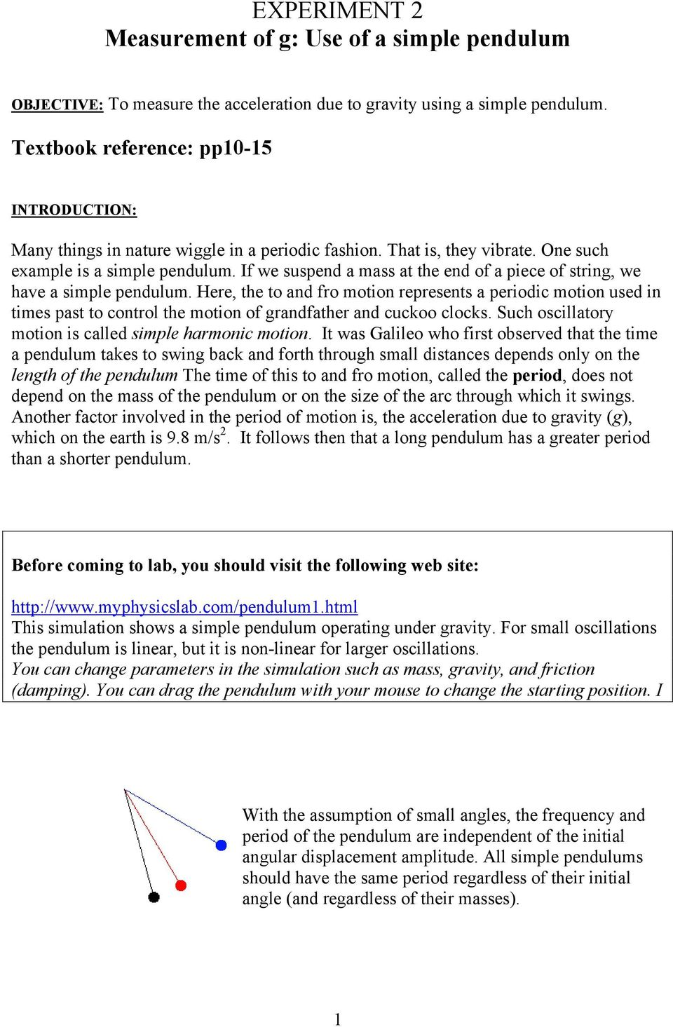 EXPERIMENT 2 Measurement of g: Use of a simple pendulum - PDF