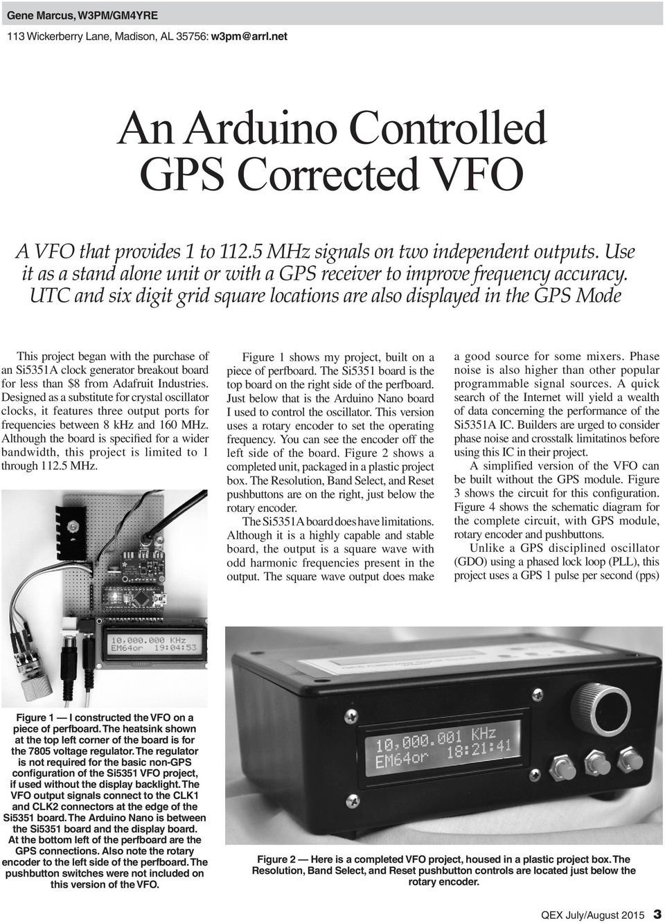 An Arduino Controlled GPS Corrected VFO - PDF