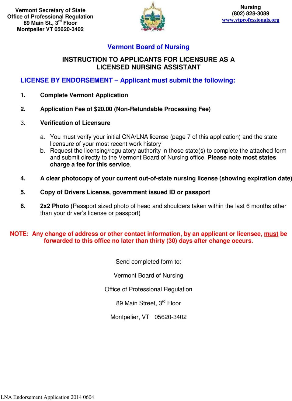Vermont Board Of Nursing Instruction To Applicants For Licensure As