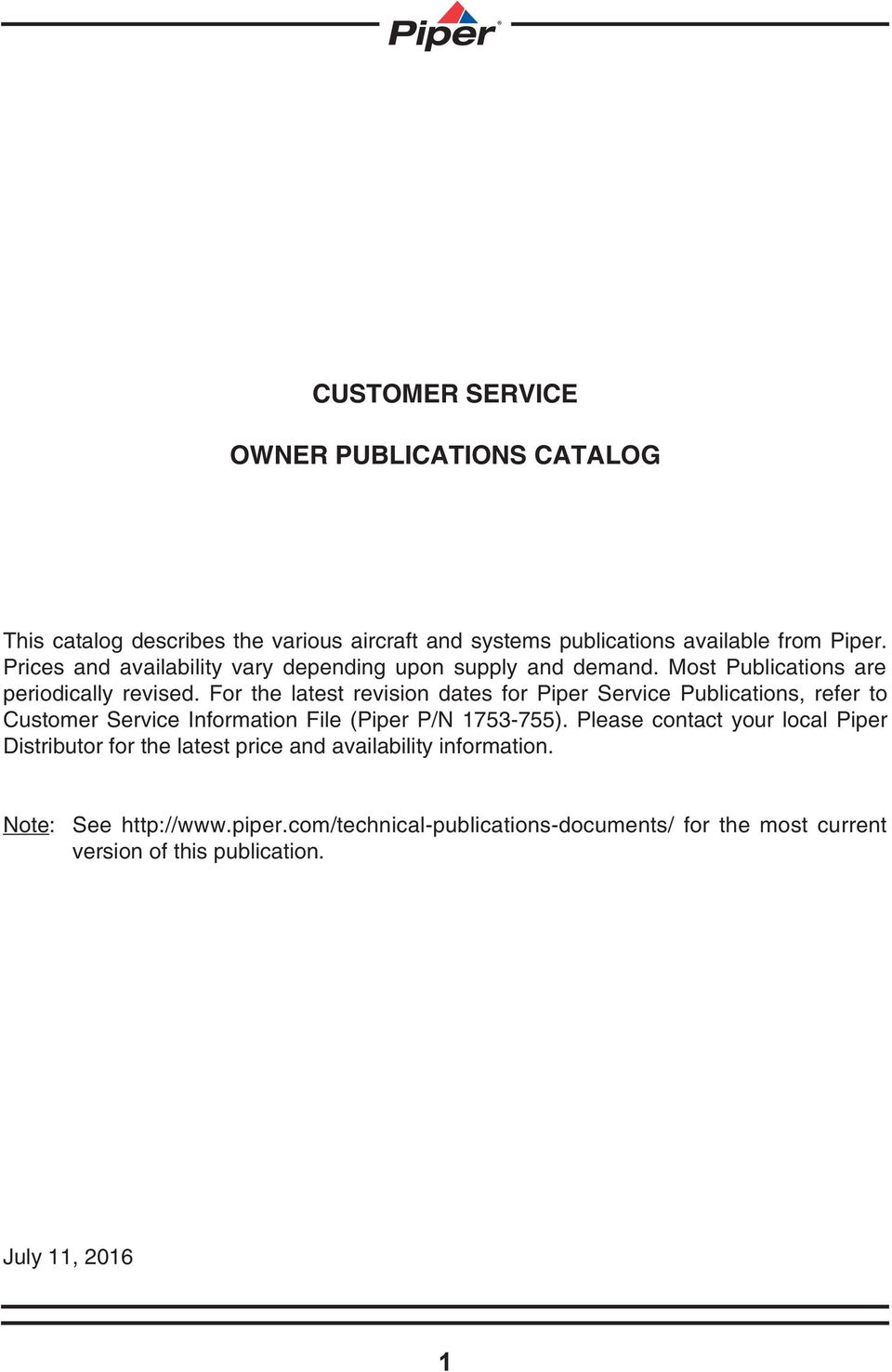 Customer Service Owner Publications Catalog Pdf Piper Seneca Wiring Diagram For The Latest Revision Dates Refer To Information File