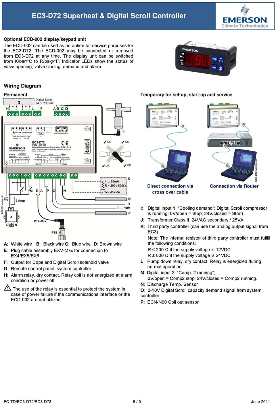Ec3 D72 Superheat Digital Scroll Controller Technical Data Pdf Pump Down Solenoid Wiring Diagram Permanent Temporary For Set Up Start And Service Direct Connection