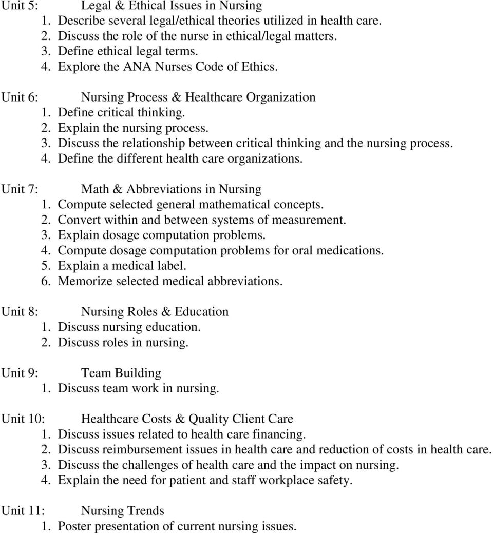 Discuss the relationship between critical thinking and the nursing process. 4. Define the different health care organizations. Unit 7: Math & Abbreviations in Nursing 1.