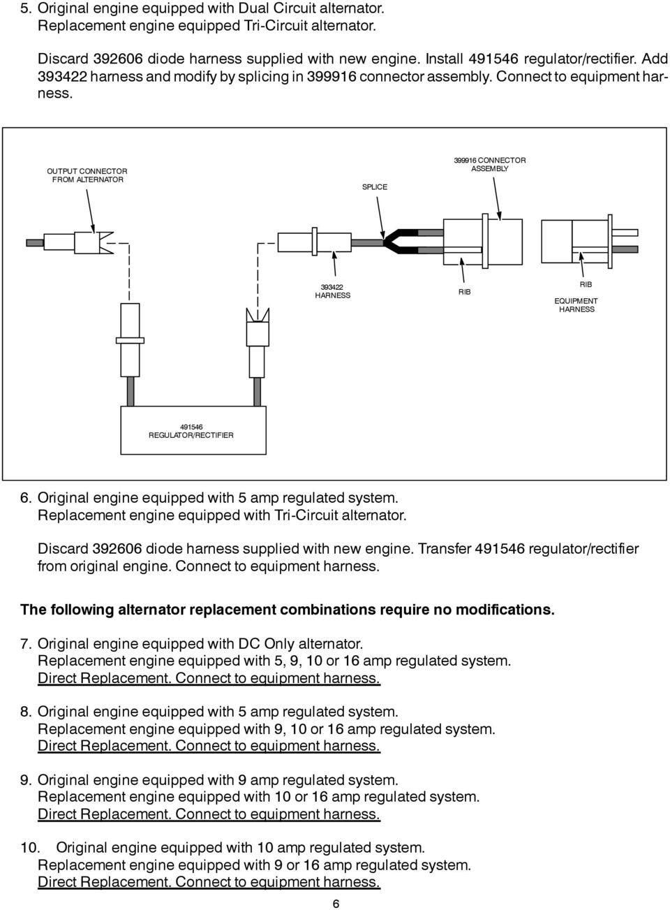 Alternator Identification Pdf Rectifier Regulator Schematic Original Engine Equipped With Amp Regulated System Replacement Tricircuit Discard